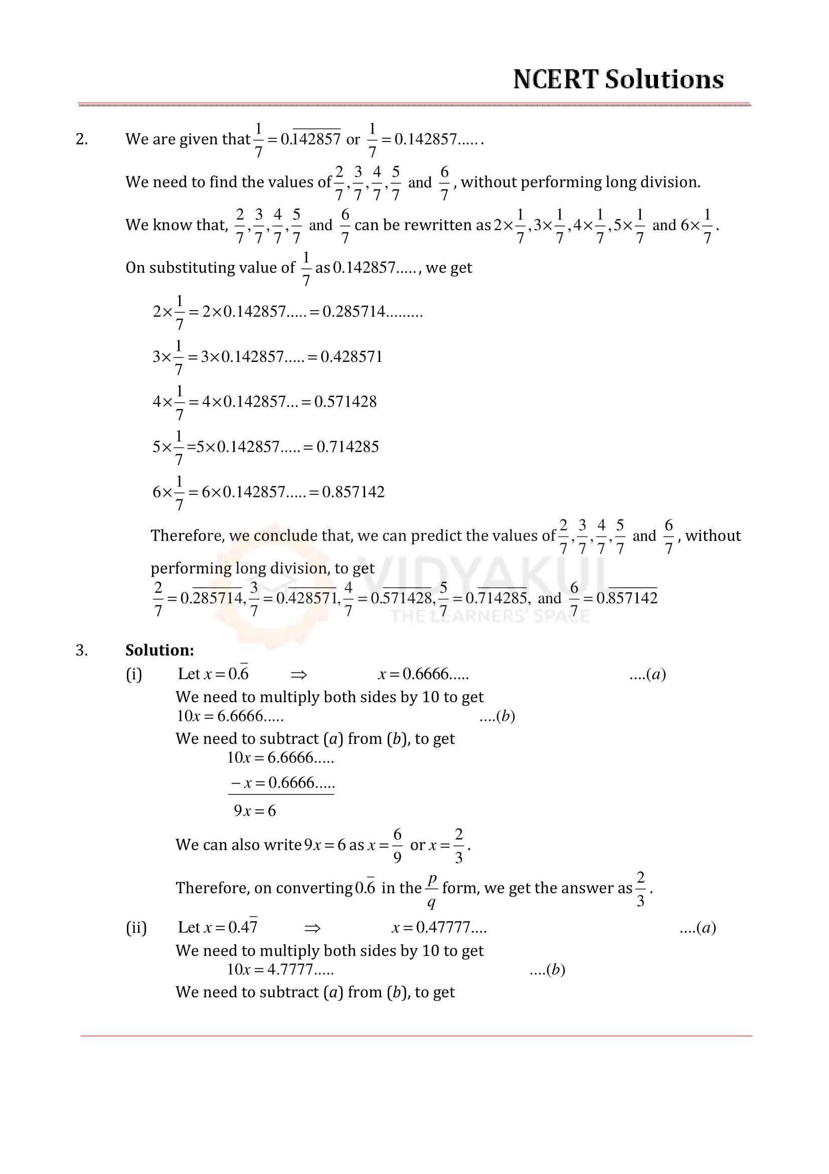 NCERT Solutions for Class 9 Maths Chapter 1   Vidyakul