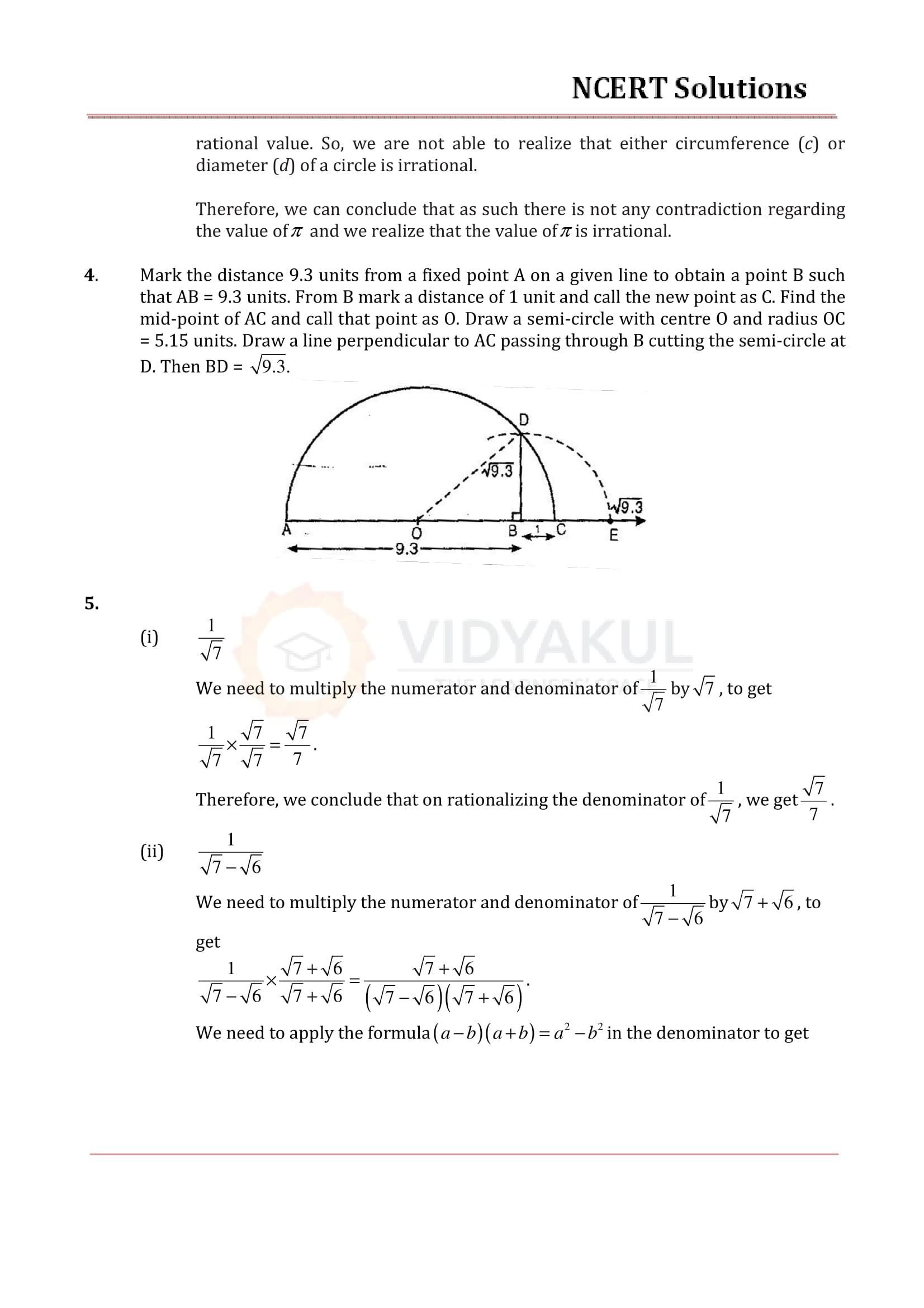 NCERT Solutions for Class 9 Maths Chapter 1 | Vidyakul