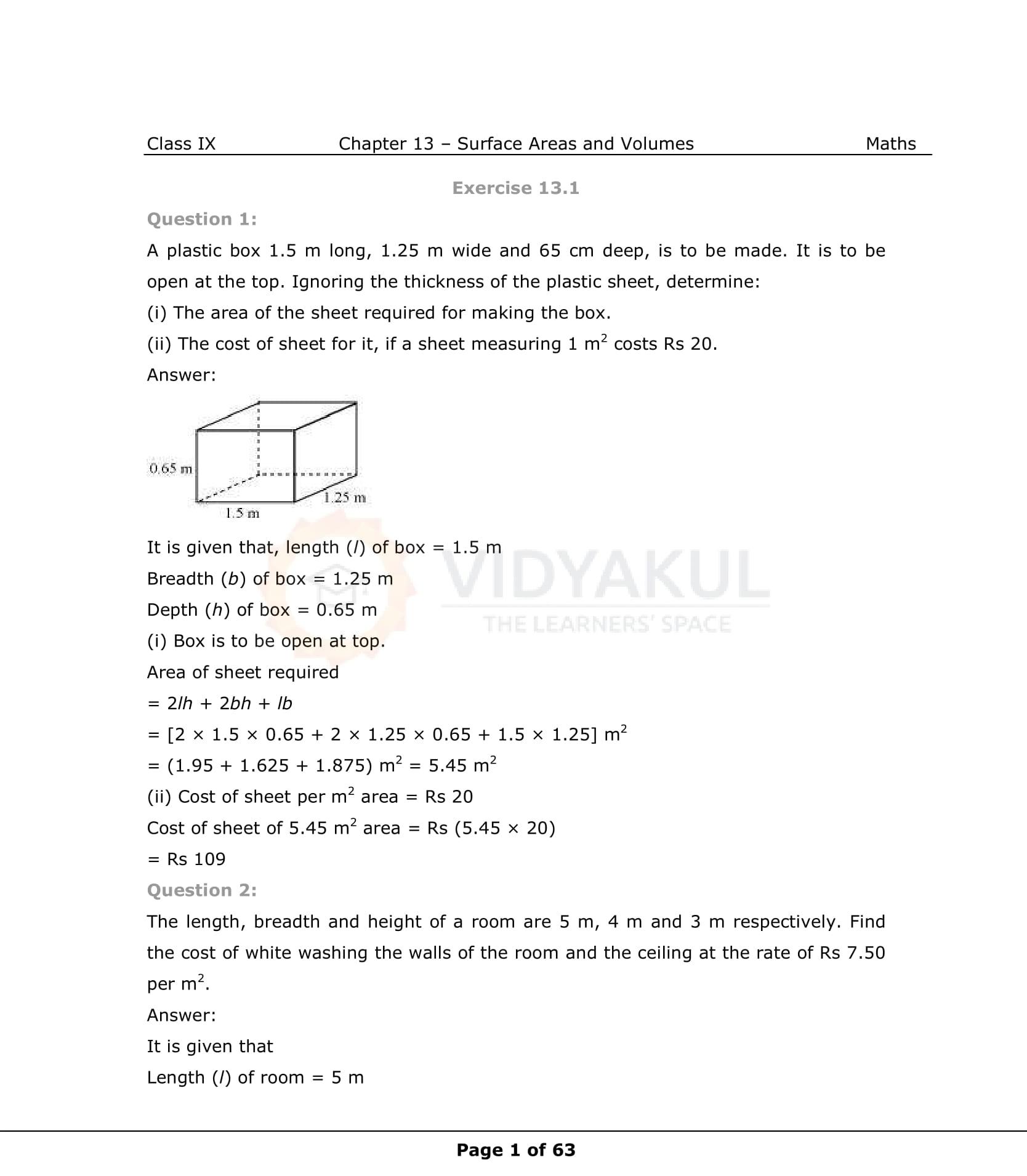 NCERT Solutions for Class 9 Maths Chapter 13 | Vidyakul