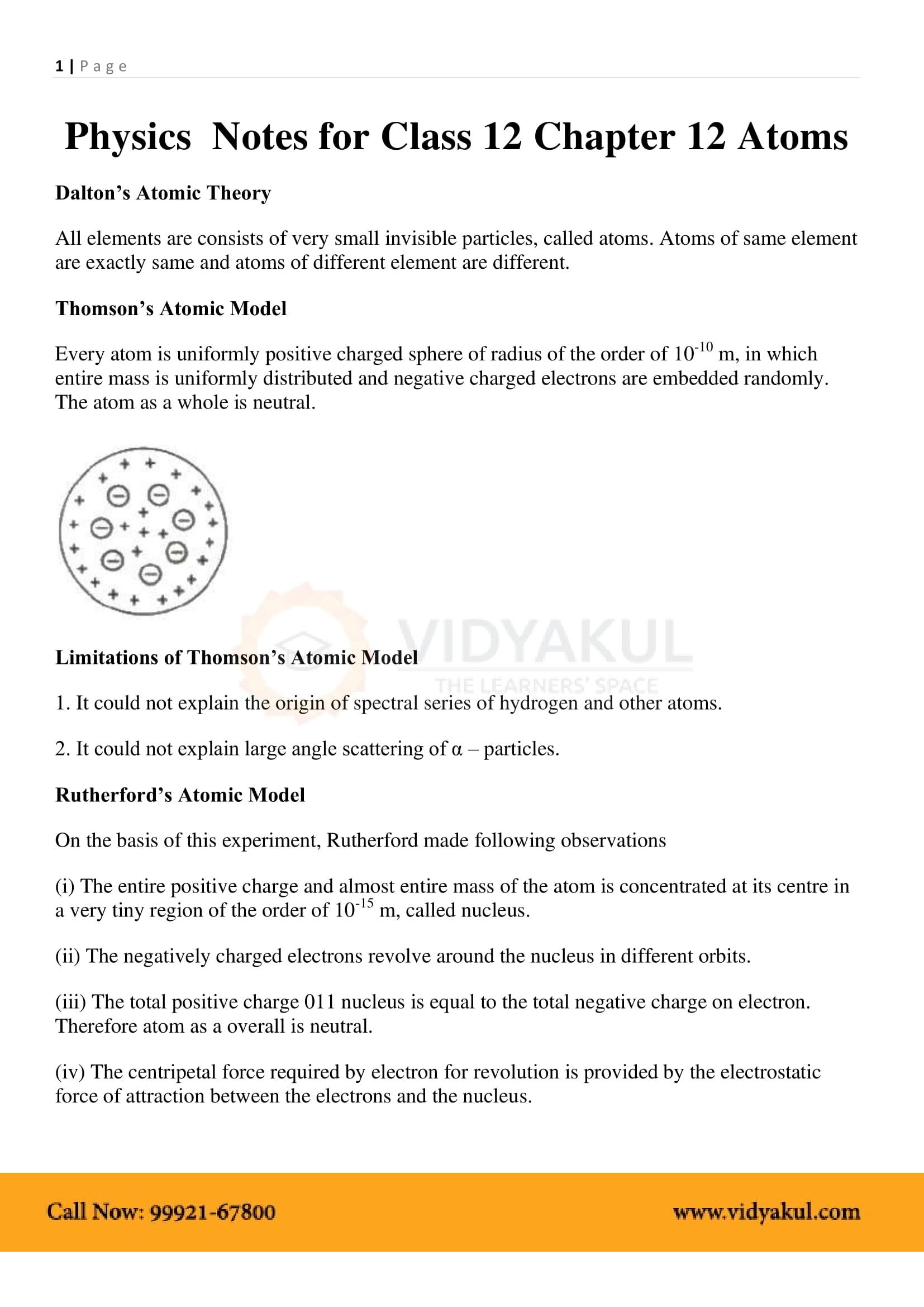 Atoms Class 12 Notes   Vidyakul