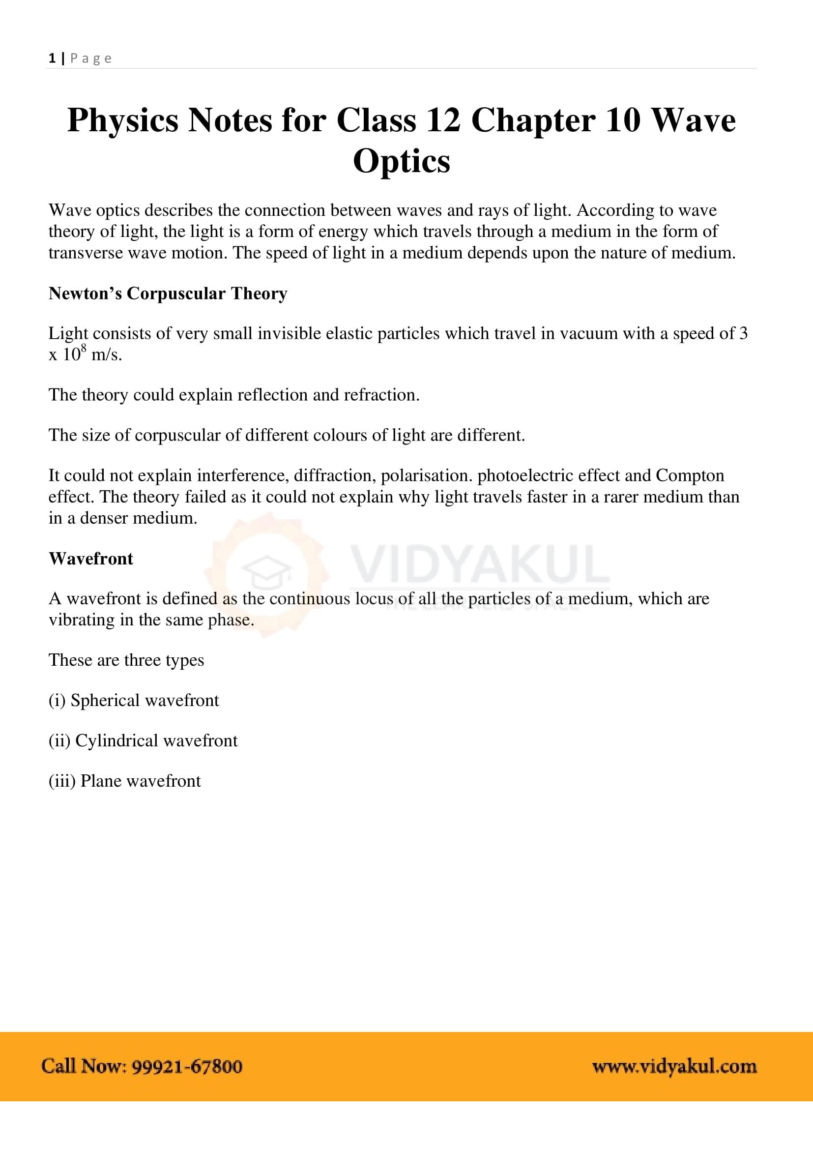 Wave Optics Class 12 Notes Vidyakul