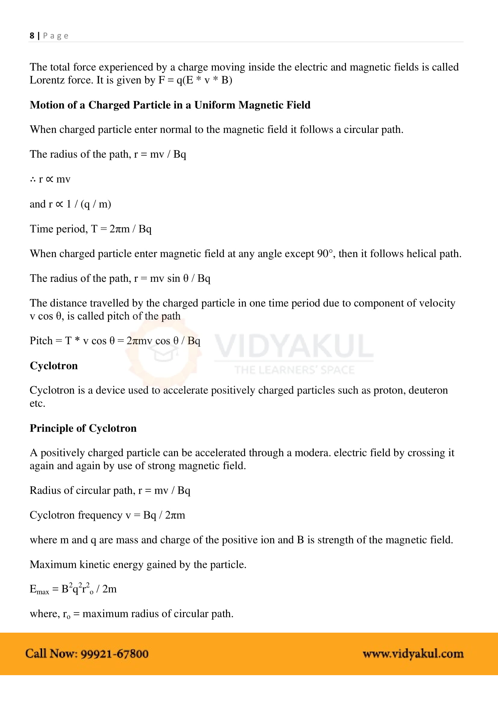 Moving Charges and Magnetism Class 12 Notes | Vidyakul