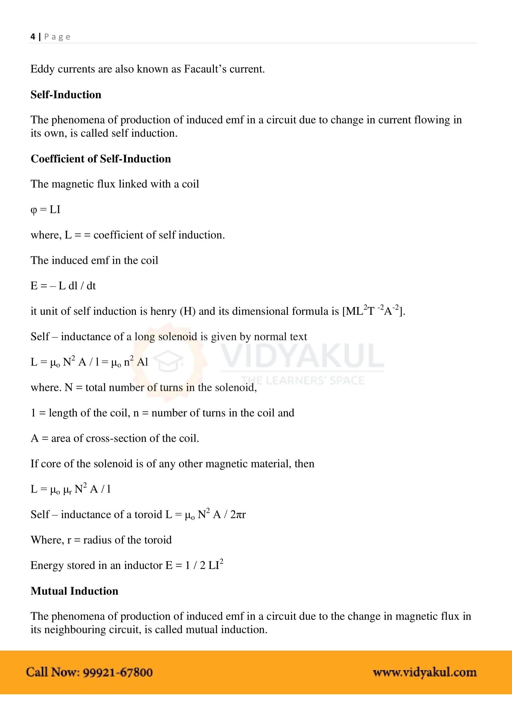 Electromagnetic Induction Class 12 Notes | Vidyakul