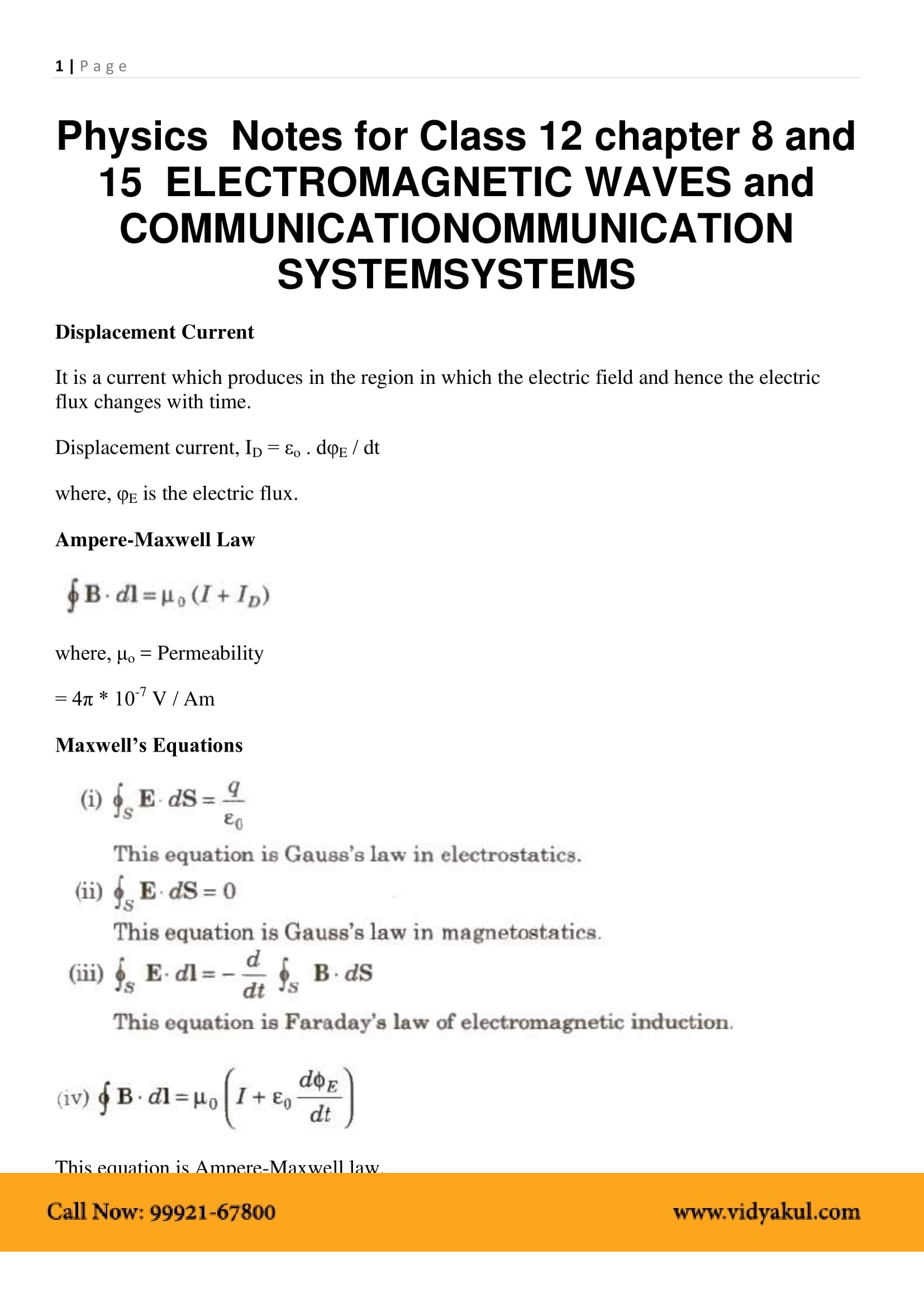 Communication Systems Class 12 Notes | Vidyakul