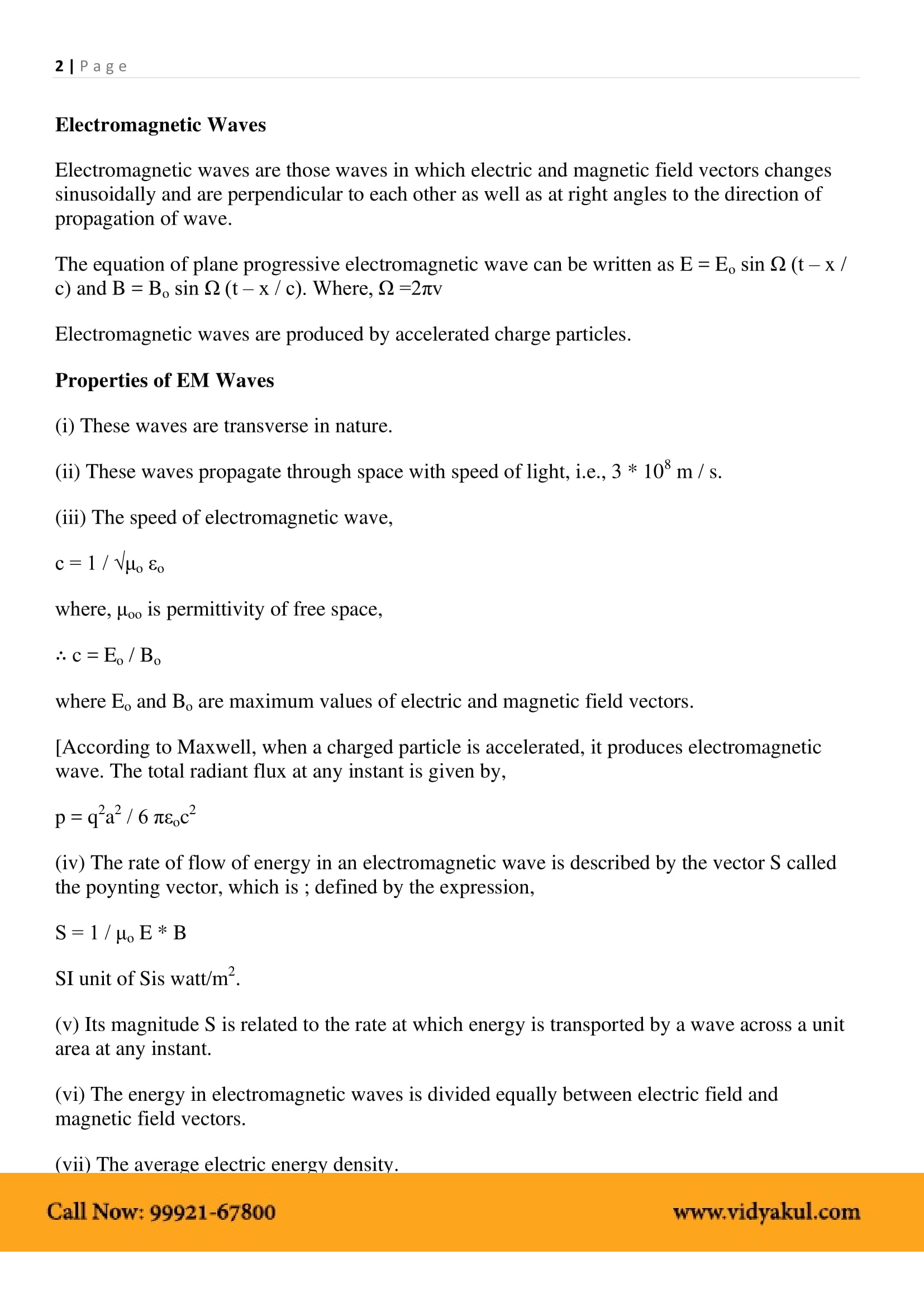 Electromagnetic Waves Class 12 Notes | Vidyakul